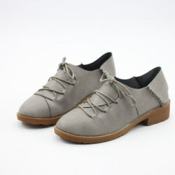 Gray PU Lace-up Spring/Fall Daily Chunky Heel Loafers