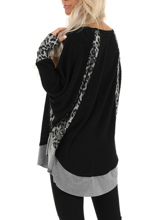 Plus Size V Neck Casual Long Sleeve Shirts & Tops