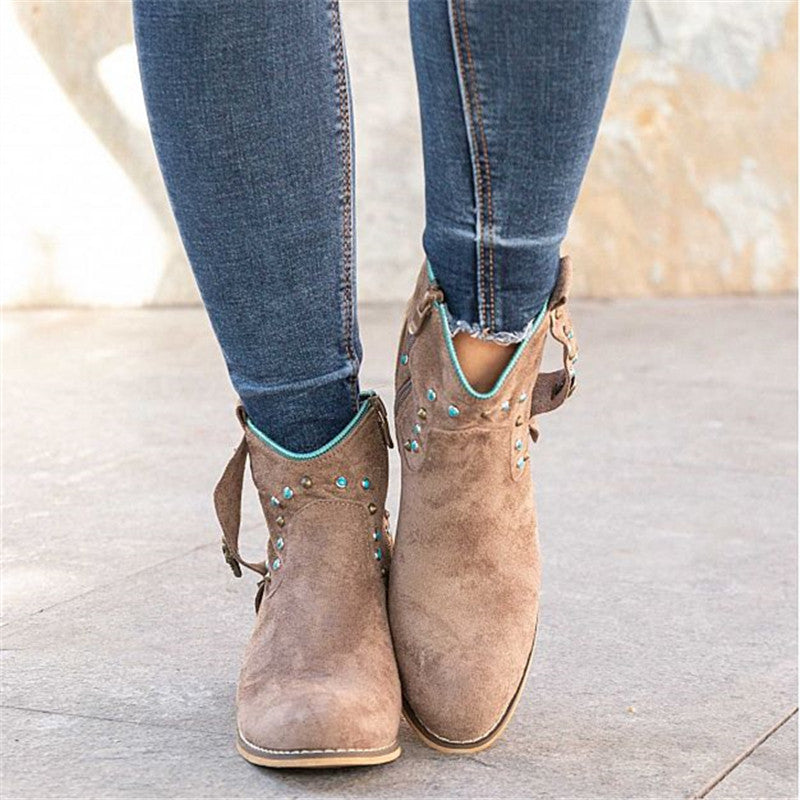 Women Casual Daily Slip On Chunky Heel Boots