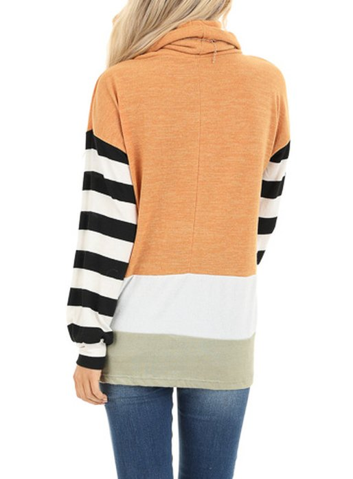Plus Size Casual Long Sleeve Turtleneck Shirts & Tops