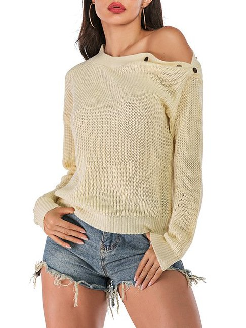 Apricot Casual Off Shoulder Solid Tops