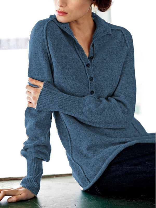 V-Neck Solid Color Long Sleeve Pullover Women Sweater