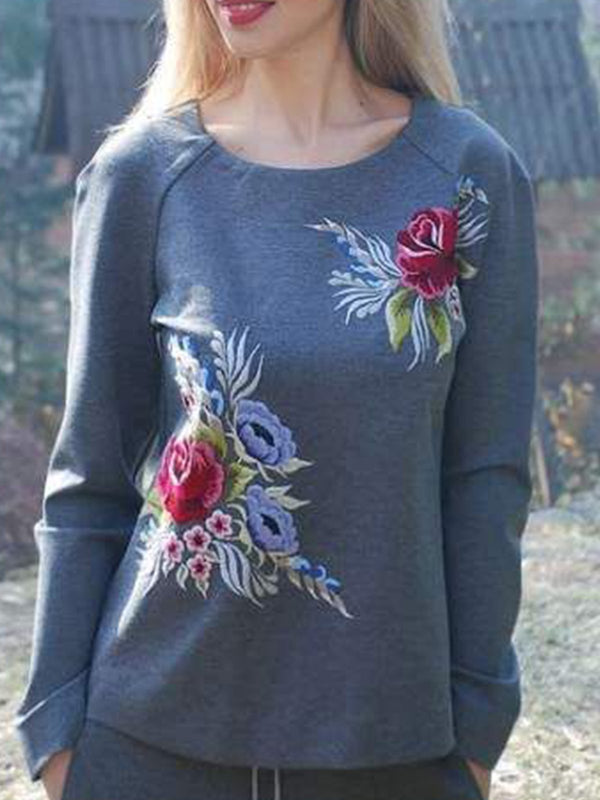 Plus Size Floral Casual Crew Neck Sweatshirt