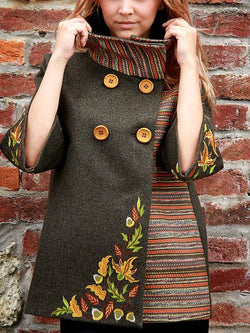 Brown Wool Color-Block Casual Long Sleeve Outerwear