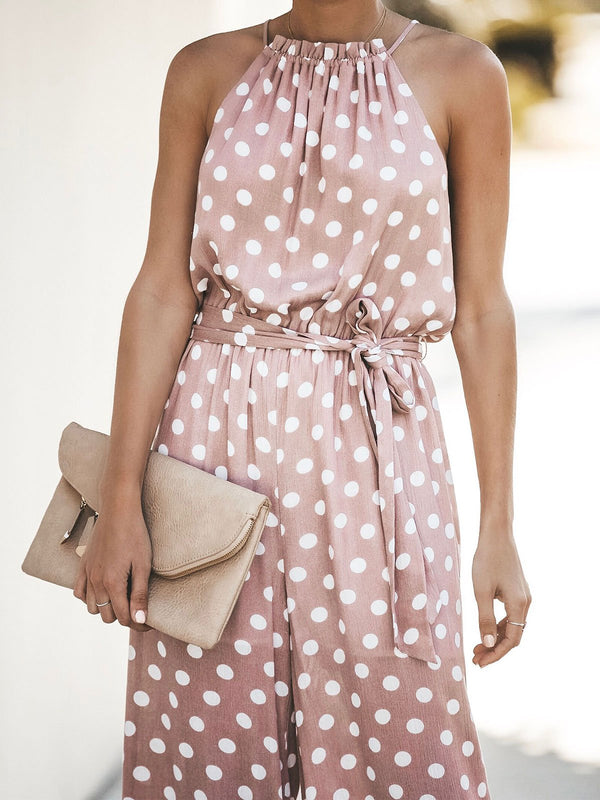 Women's Sleeveless Casual Polka Dot Jumpsuit Romper