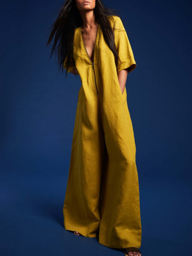 Yellow Half Sleeve V Neck Shift Pockets One-Piece Jumpsuit