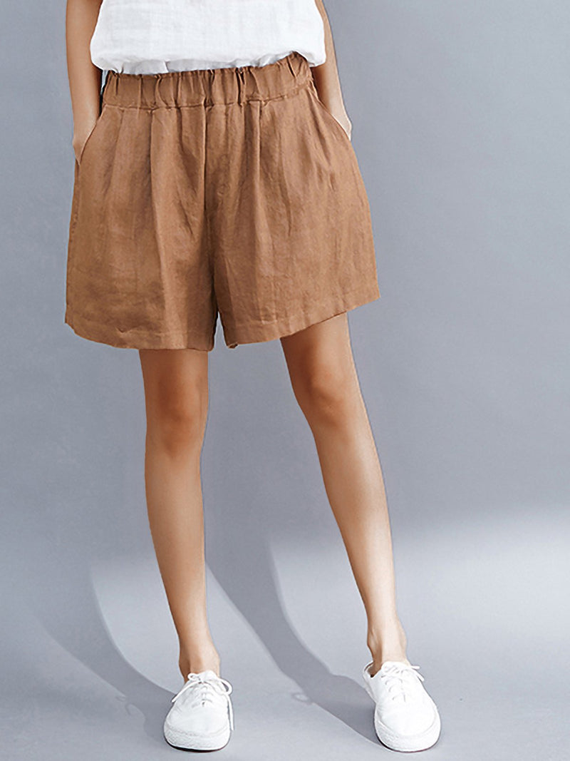 Plus Size Women Solid Loose Casual Wide Leg Shorts
