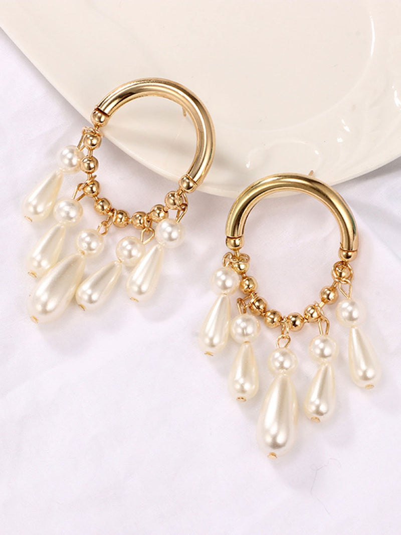 Golden Alloy Elegant Earrings