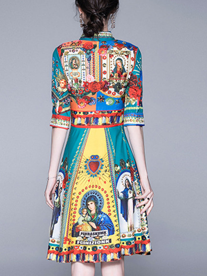 Shirt Collar Peacock A-Line Daily Paneled Patchwork Midi Dress