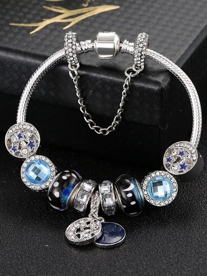 Blue Alloy Artificial Diamond Statement Women Bracelet
