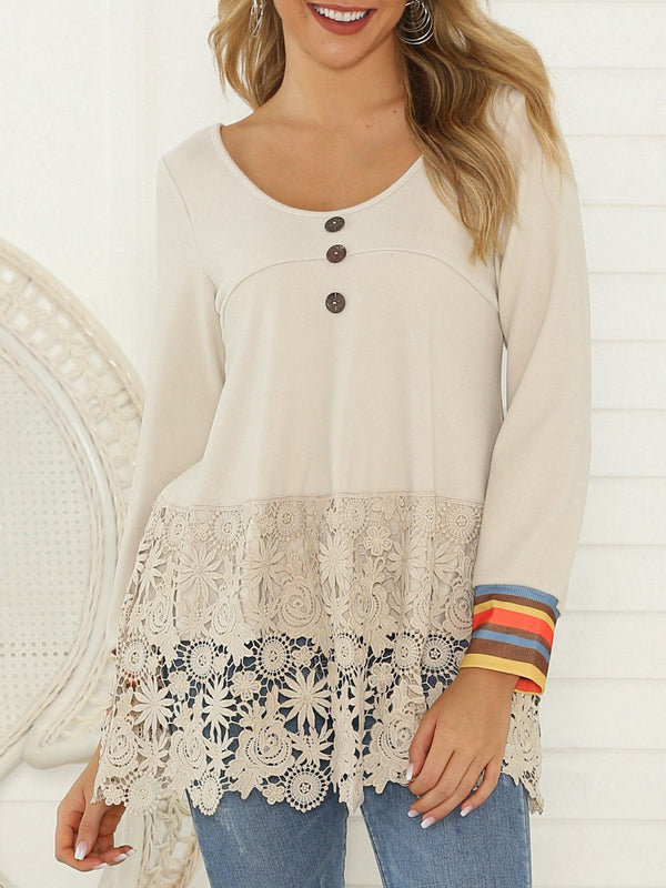 Guipure Lace Buttoned Casual Top