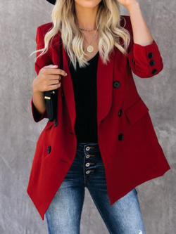 Plus size Long Sleeve Solid Cotton Outerwear