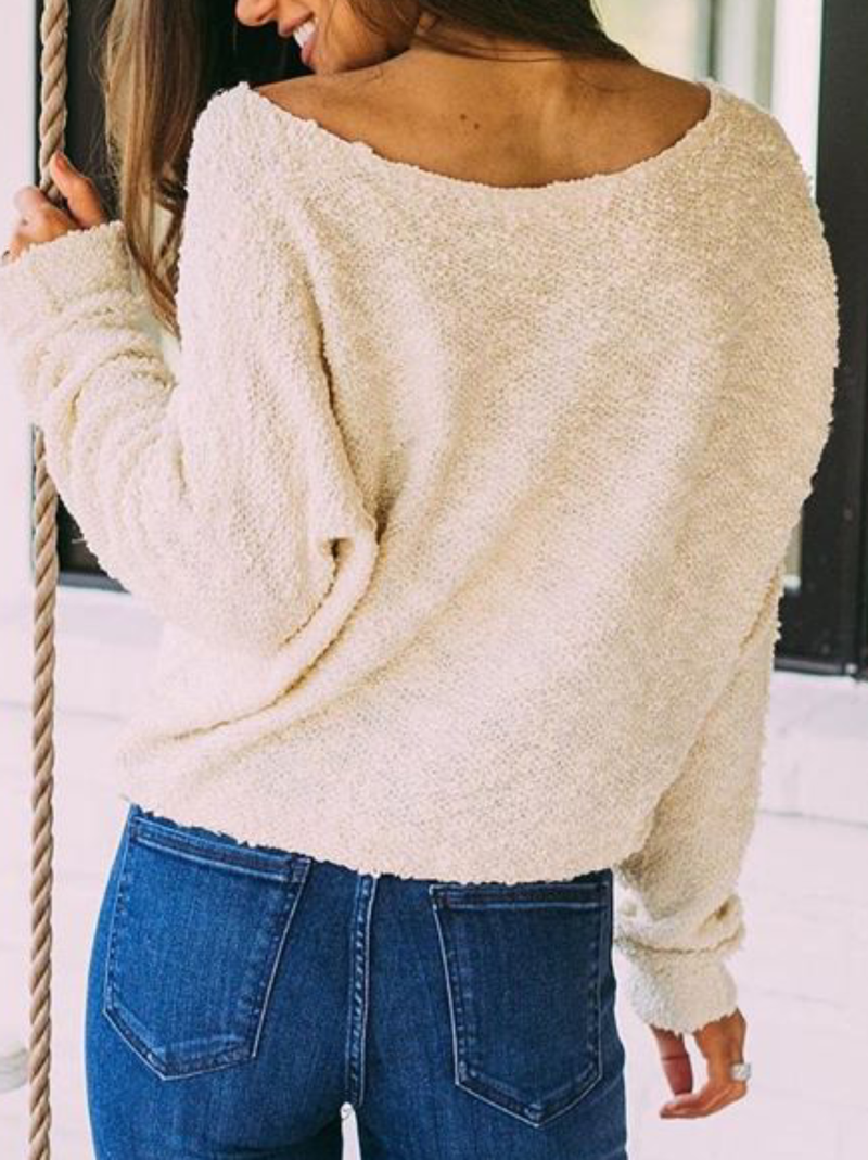 Plus size Solid Knitted Long Sleeve Crew Neck Sweater