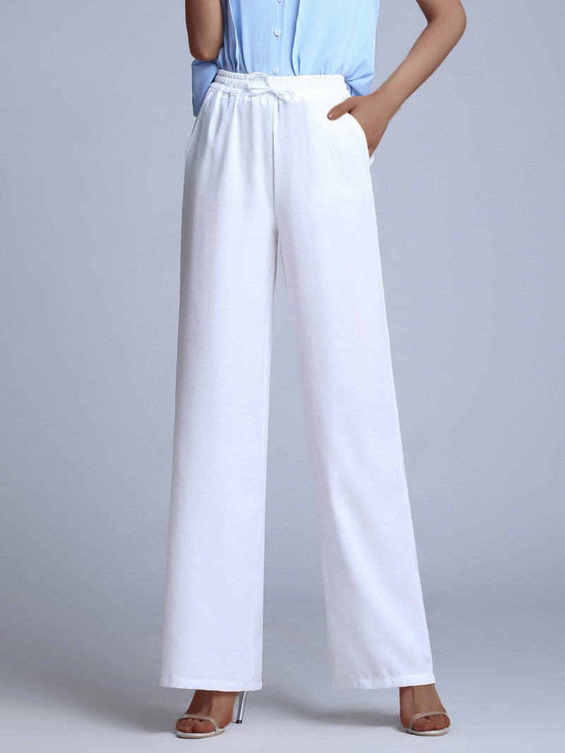 Plus Size Women Solid  Straight Drape Loose Casual Wide Leg Trousers