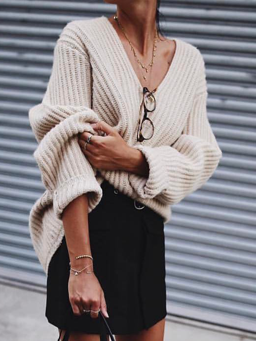Apricot V Neck Long Sleeve Knitted Sweater