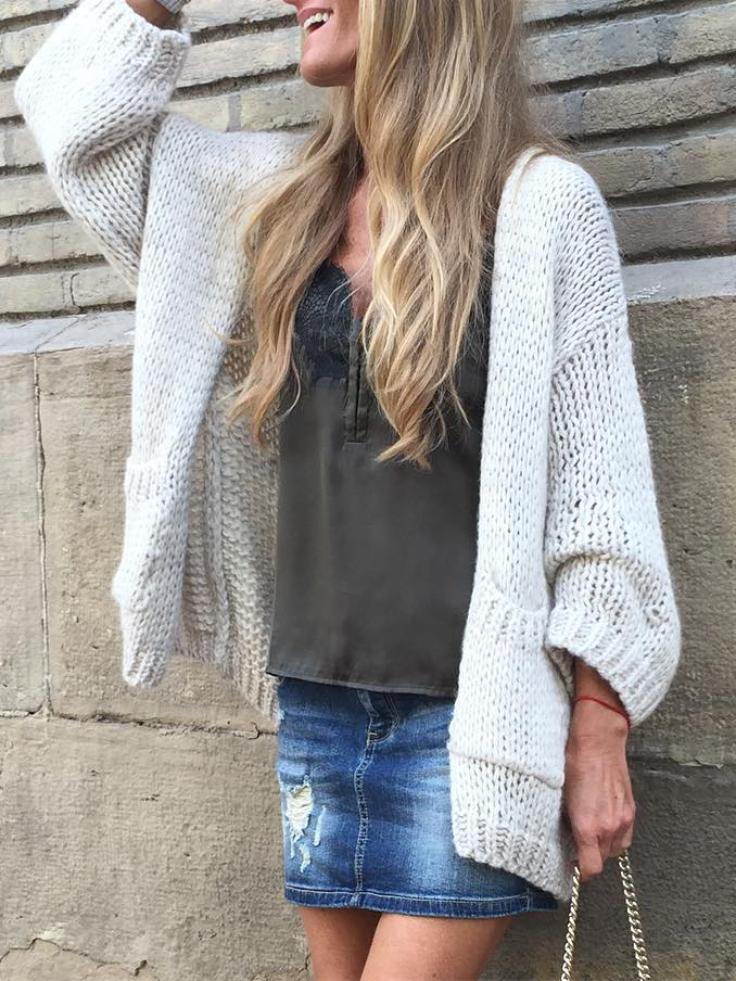 Plus size Knitted Long Sleeve Outerwear
