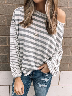 Plus size Long Sleeve Striped Cotton Shirts & Tops