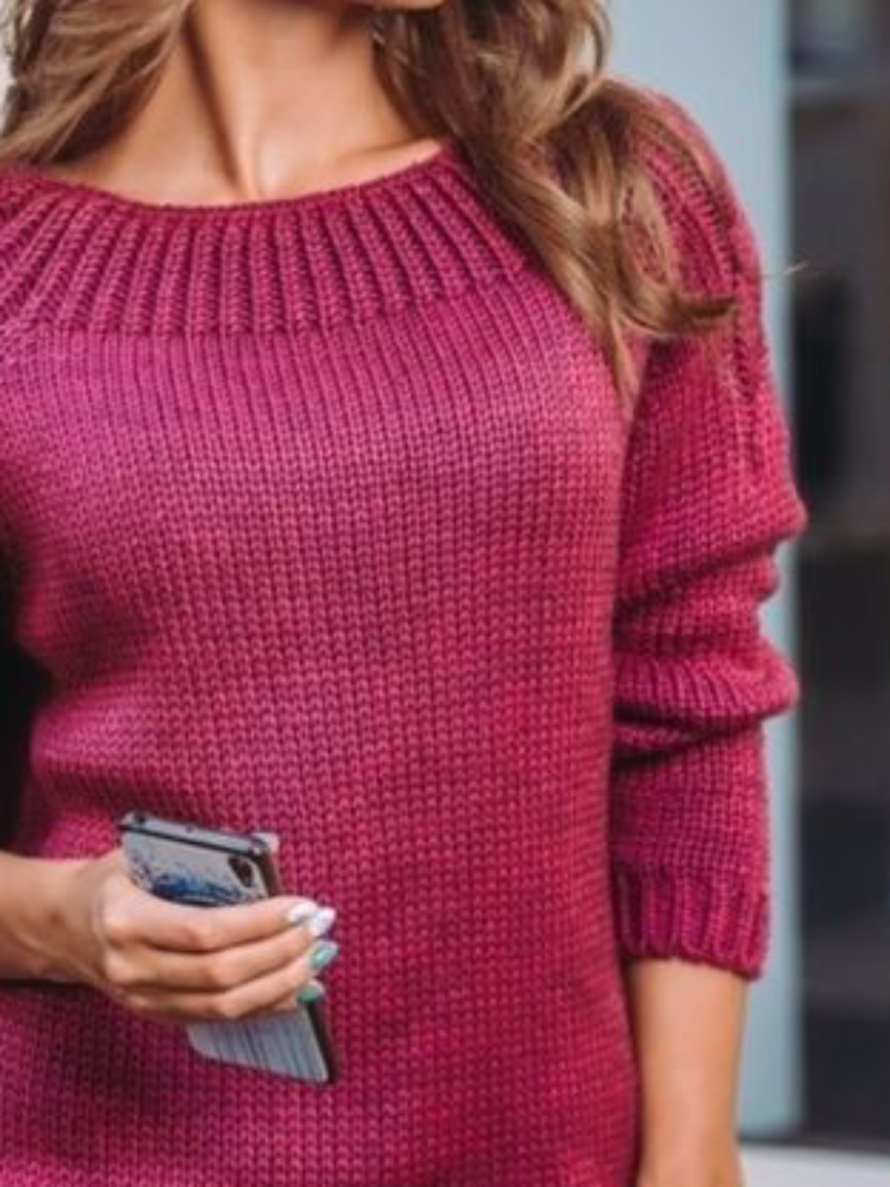 Plus size Knitted Long Sleeve Crew Neck Solid Sweater
