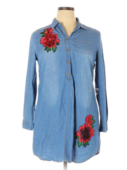 Plus size Long Sleeve Denim Floral Shirts & Tops