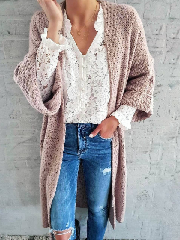 Plus size Casual Solid Knitted Outerwear