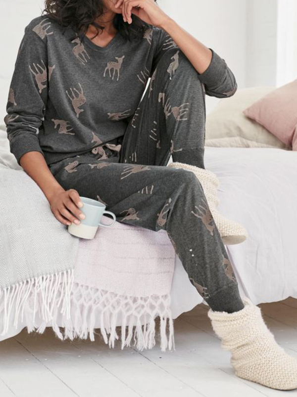 Plus size Cotton Long Sleeve Christmas Sleepwear Suits