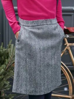 Plus size Casual Solid Tweed Skirts