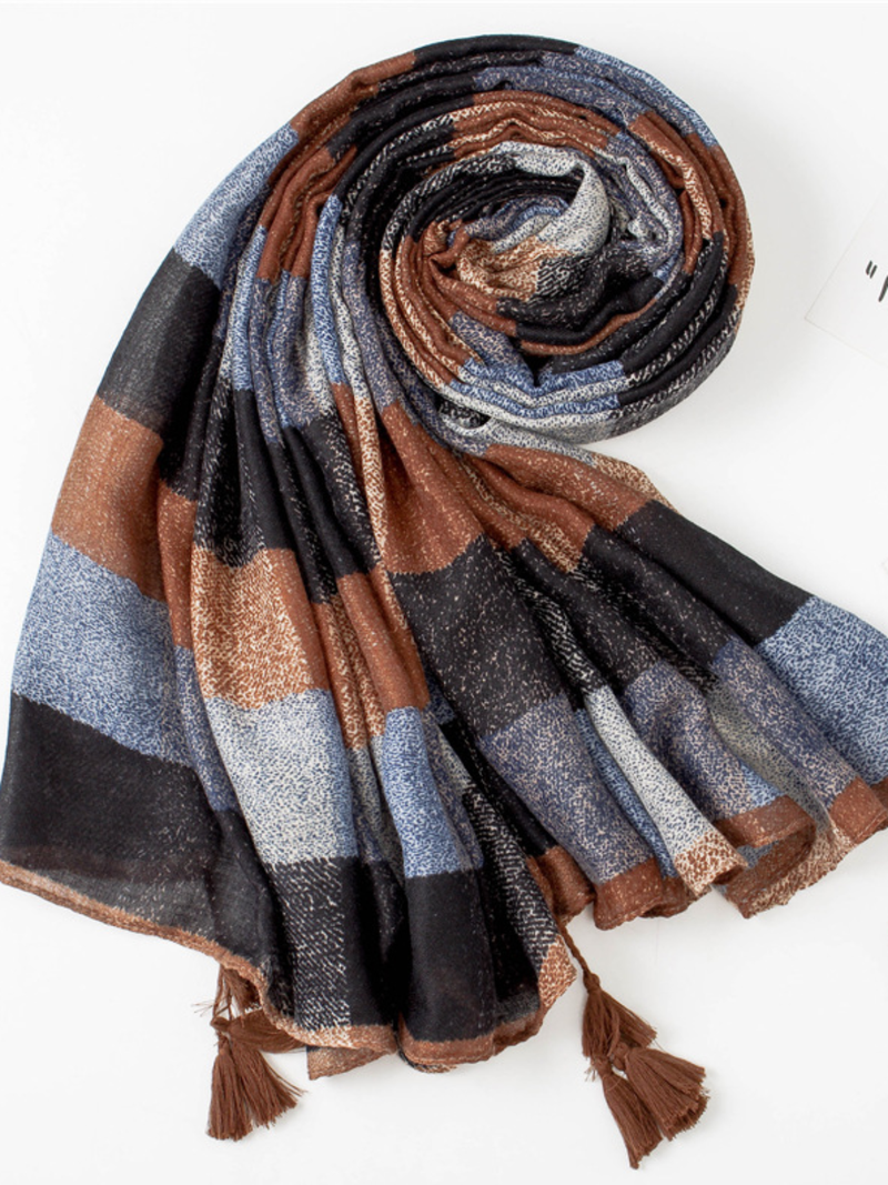 Elegant Cotton Plaid Scarves & Shawls