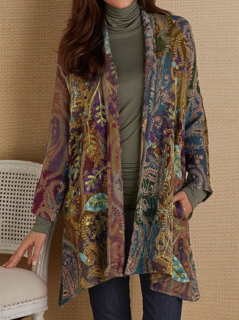 Woman Plus size Long Sleeve Printed Outerwear