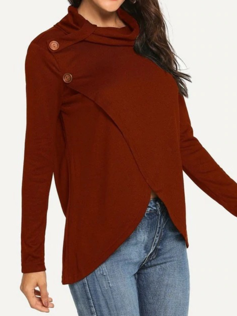 Plus size Solid Long Sleeve Shirts & Tops