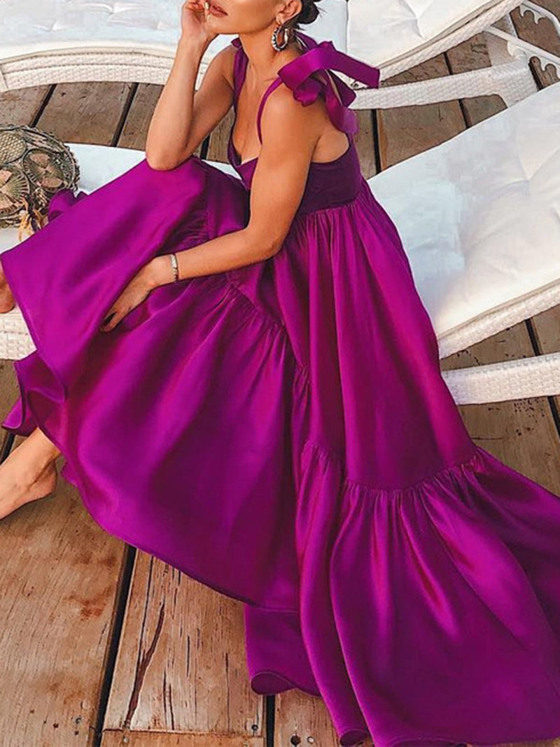 Purple Dresses Swing Going Out Elegant Solid Dresses