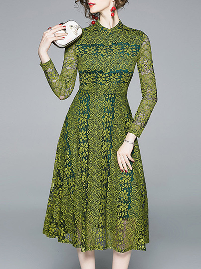 Stand Collar Green Dresses A-Line Date Embroidered Floral Dresses