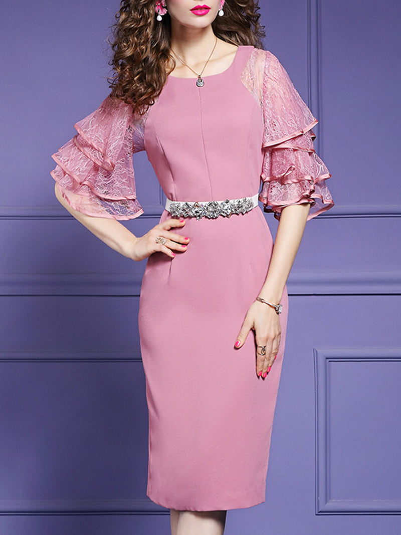 Sheath Work Solid Midi Dress