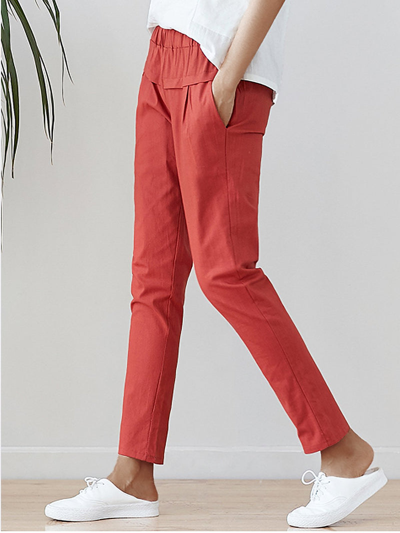 Plus Size Women Cotton And Linen Solid Loose Casual Pants