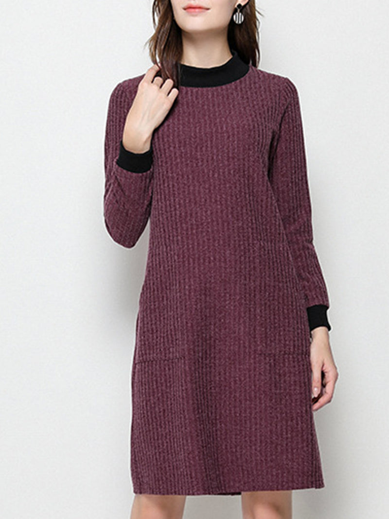 Datered Crew Neck Casual Pockets Sweater