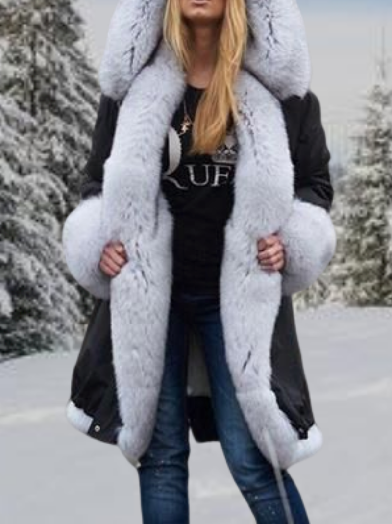 Plus size Long Sleeve Solid Faux Fur Outerwear