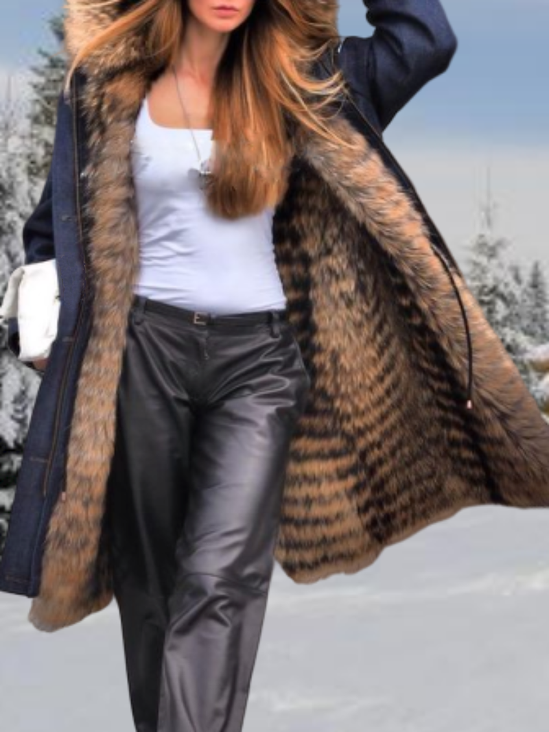 Plus size Solid Long Sleeve Fur Outerwear