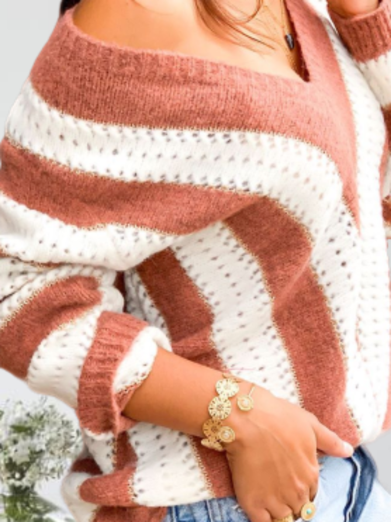 Plus size Striped V neck Knitted Sweater