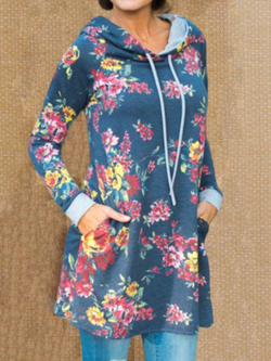Plus size Long Sleeve Floral Cotton Hoodies