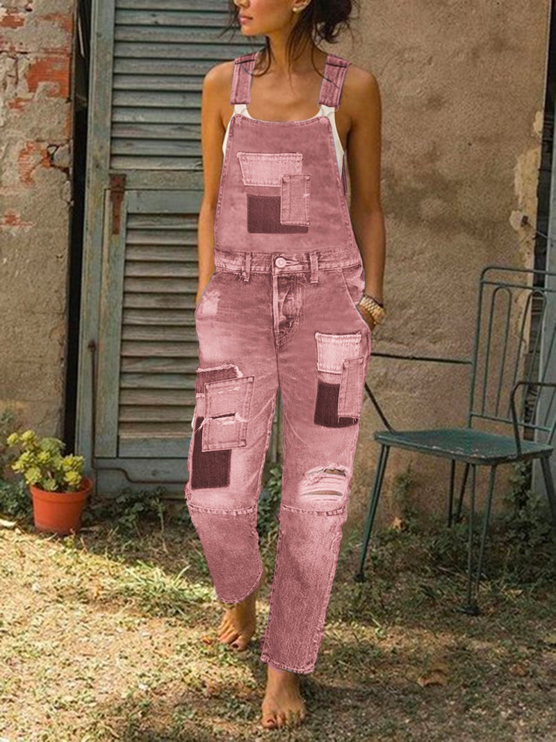 Women Vintage Jeans Casual Patch Denim Jeans Pants Overalls