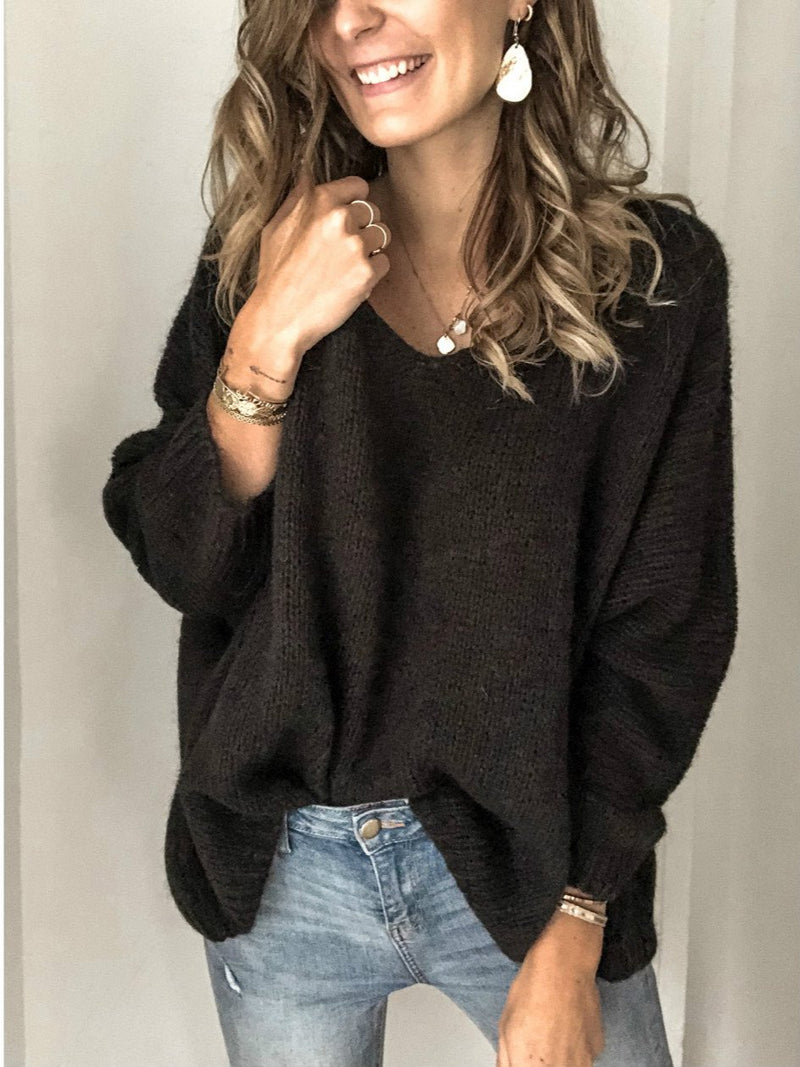 Black V Neck Casual Cotton Solid Shirts & Tops