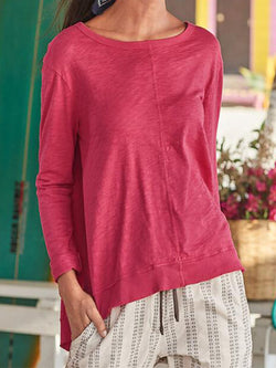 Rose Red Long Sleeve Cotton-Blend Shirts & Tops