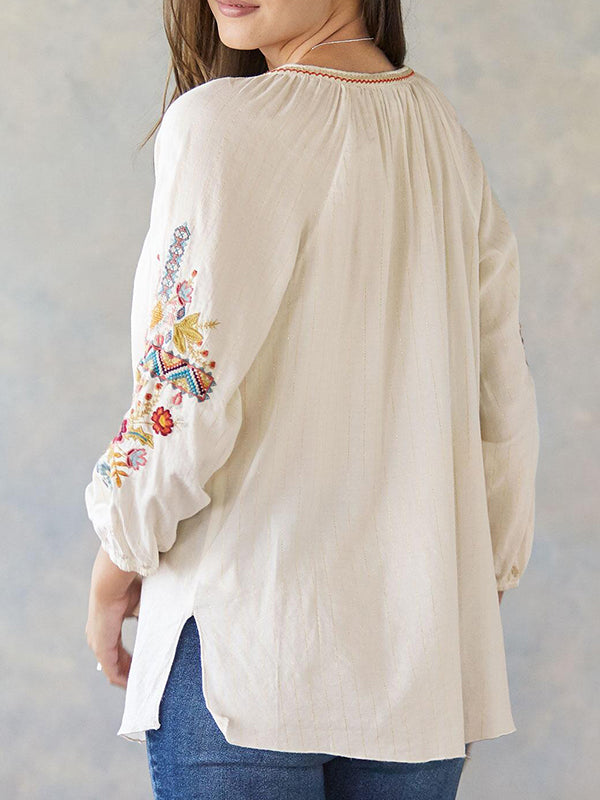 Embroidery 3/4 Sleeve Casual V Neck Shirts & Tops