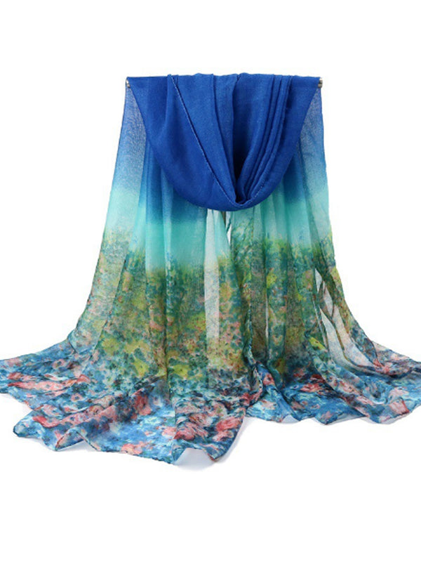 180CM Women Flowers Printing Scarves Casual Oversize Warm Soft Shawl