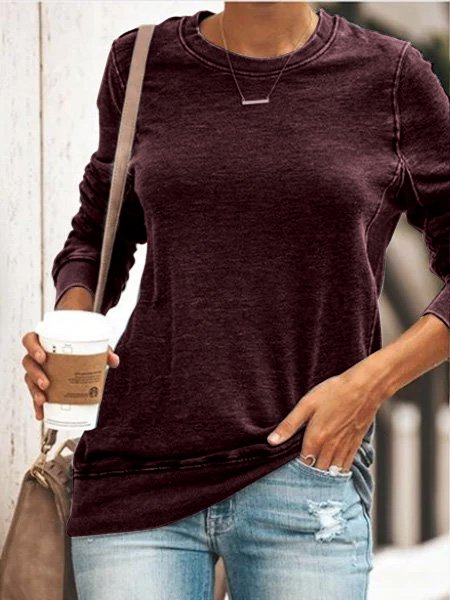 Women Vintage Gray Casual Round Neck Shirts & Tops