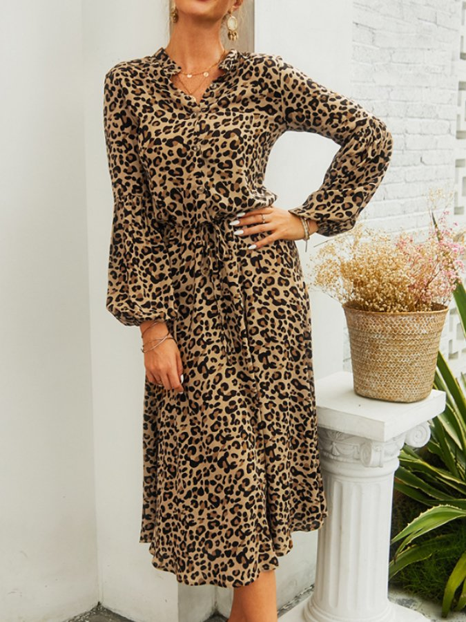 Khaki Leopard Print V Neck Cotton Long Sleeve Dresses