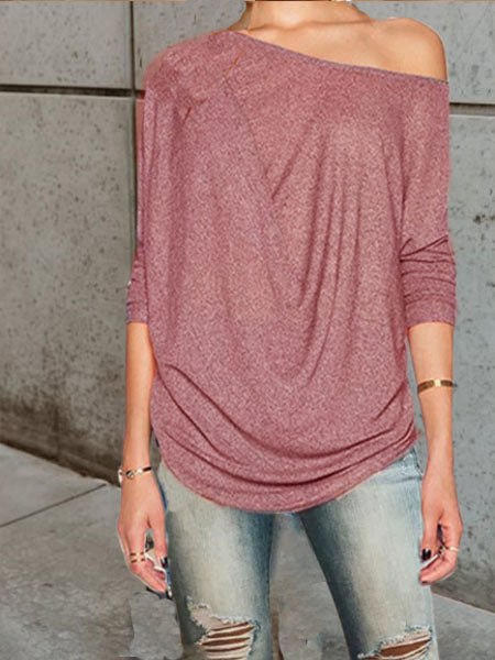 Pink Solid Off Shoulder Casual Tops