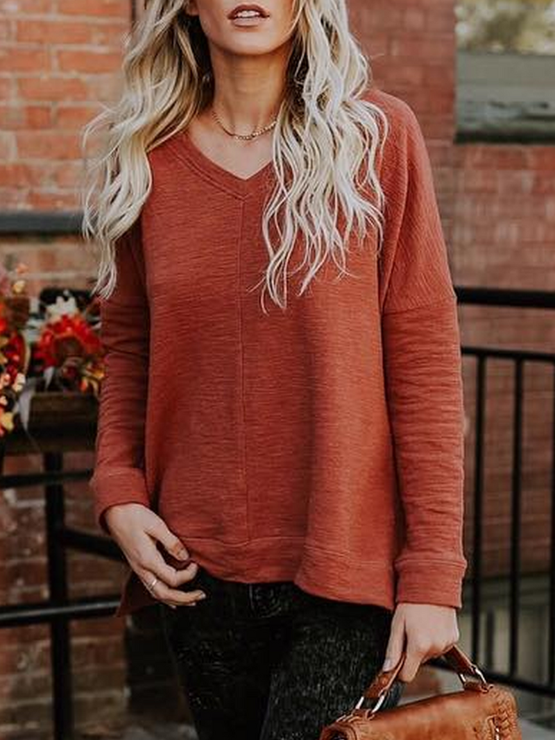Red Long Sleeve V Neck Cotton Plus Size Sweatshirts