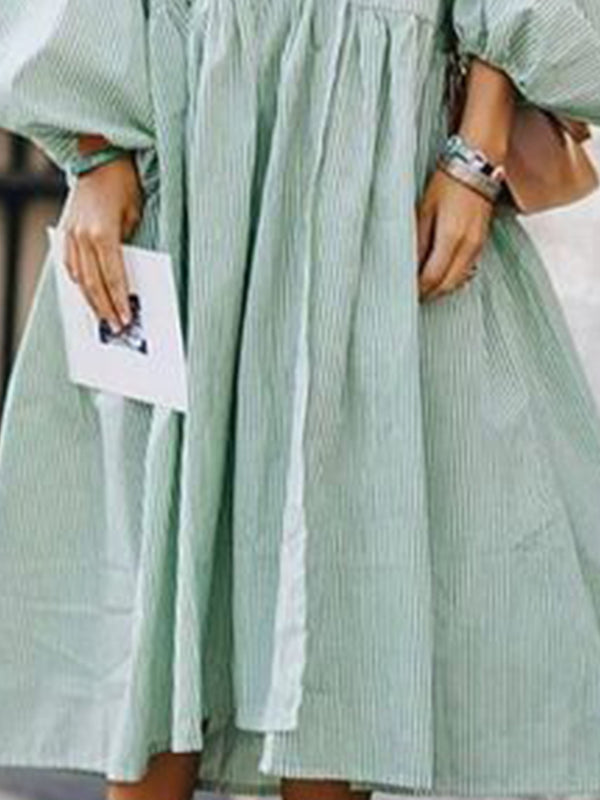 Green Solid Balloon Sleeve Dresses