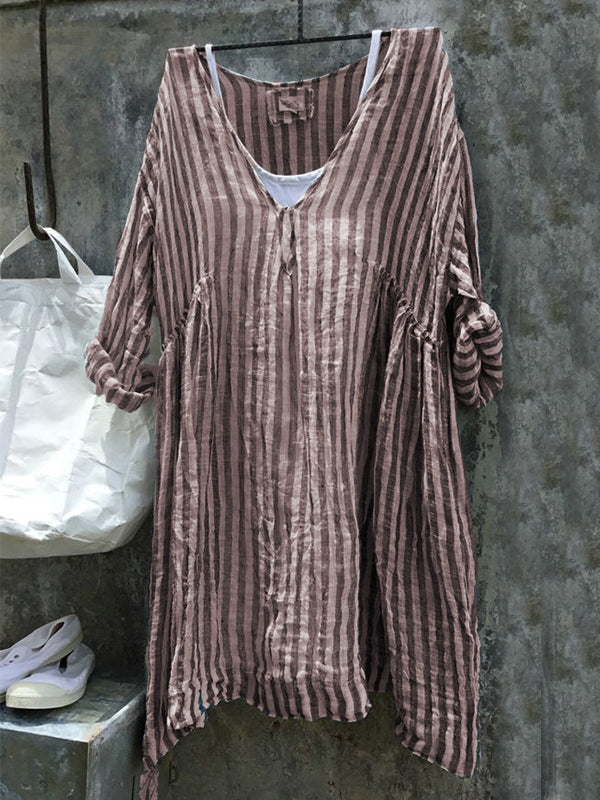 3/4 Sleeve Cotton Linen Striped Casual Casual Tops & Blouse