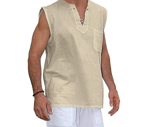 Drawstring Collar Breathable Tops Men's Solid Color V-neck Vest